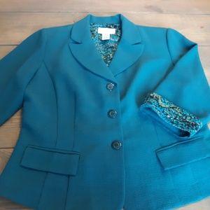 Studio I teal colored 3 button blazer size 16